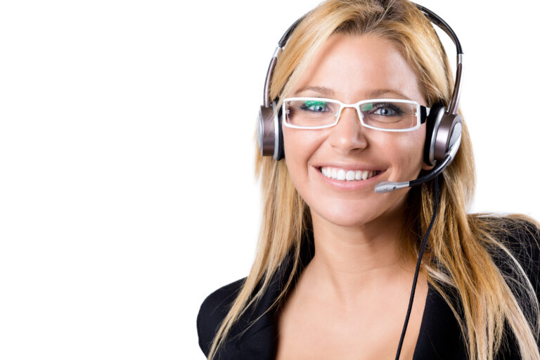 Portrait of Call center blonde woman with headset