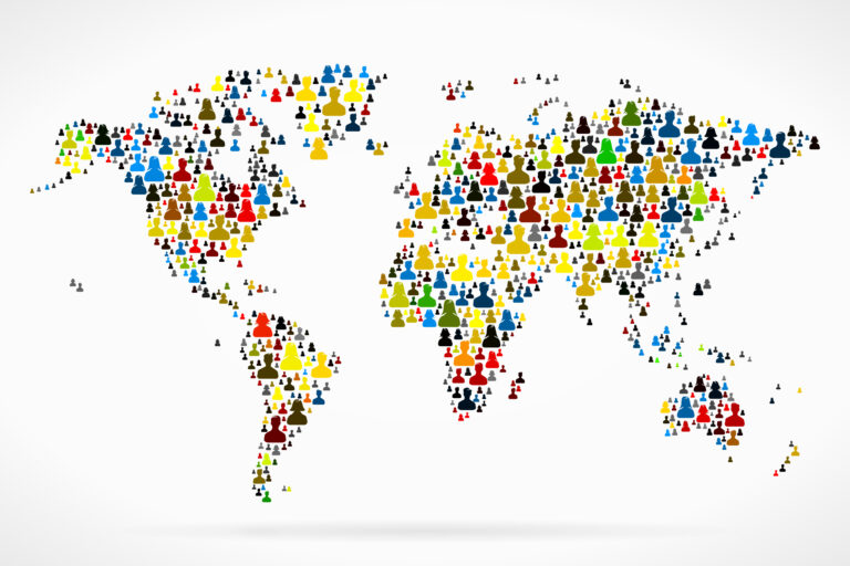World,Map,Made,Out,Of,Large,Group,Of,People,Silhouettes